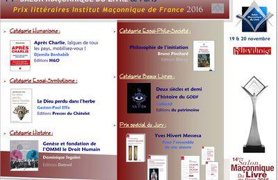 Prix littéraires de la maçonnerie française 2016
