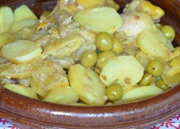 Tajine de poulet, pommes de terre et citron confit