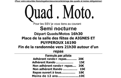 Rando Quad-moto Semi-nocturne de l'association Quad Nature Chavenat (16), le 16 septembre 2017