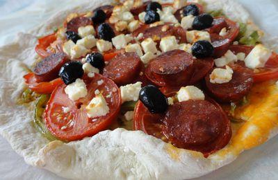 Pizza chorizo, avec une pâte maison à l'origan