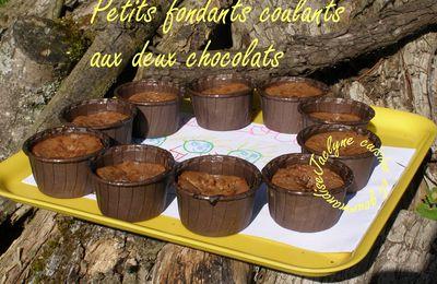 Petits fondants coulants aux 2 chocolats, noir et praliné