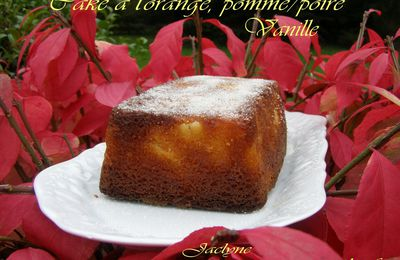 Cake à l'orange, pomme/poire/vanille/orange - Cassonade Belge Graeffe  (Variante du cake à l'orange de Sophie Dudemaine)