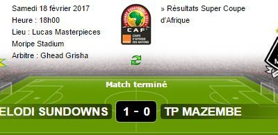 Flash sport. TP Mazembe perd 0-1 face à  Mamelodi Sundowns