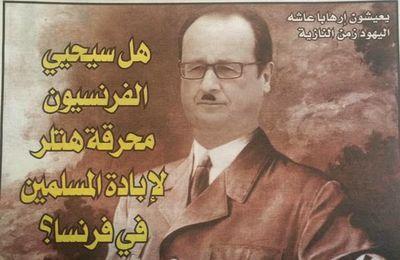 François Hollande grimé en Hitler à la une d'un hebdo marocain