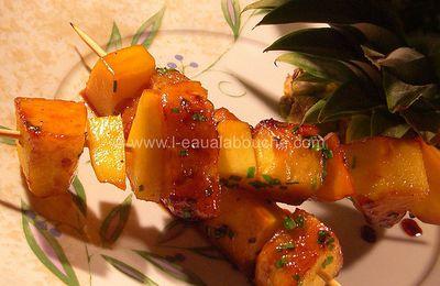 Brochettes d'Ananas et de Mangue