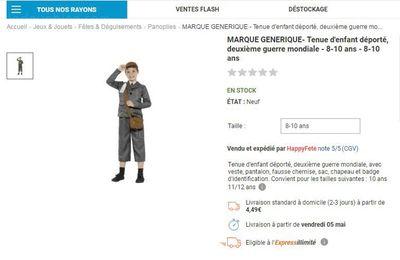 Déguisements d'enfants déportés vendus en ligne ou port d'uniformes nazis: que dit la loi ?