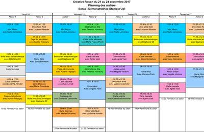Planning des ateliers Stampin'Up! à Créativa Rouen 2017