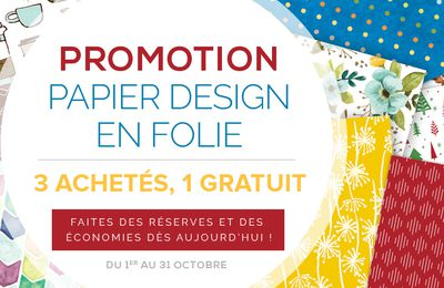 Papier design en folie = Promotion!