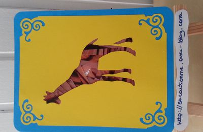 Carte iris Folding Girafe