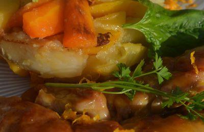 Ris de veau laqués à l'orange, légumes anciens