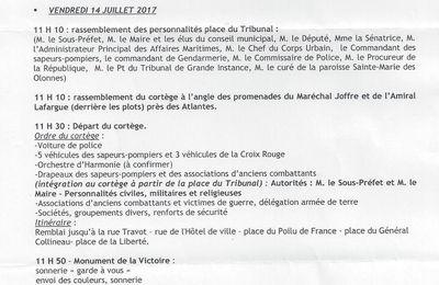 14 JUILLET, CÉRÉMONIES AUX SABLES D'OLONNE