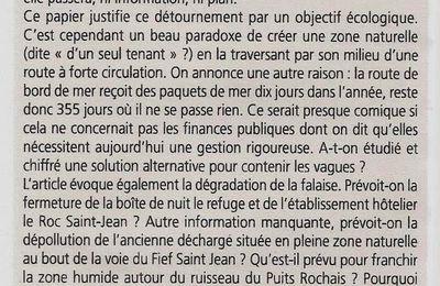 LE PROJET DE CHÂTEAU D'OLONNE DE DÉVOYER (DÉVIER) LA ROUTE LITTORALE FAIT DES VAGUES