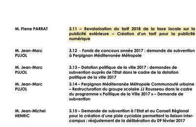 Perpignan:Pierre Parrat futur premier adjoint de JM Pujol veut augmenter la taxe locale sur les enseignes de magasins et autres publicité!