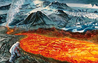 "The art on the way of fire, ""Clash of the Titans in Iceland."""