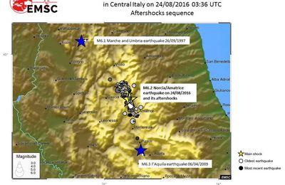 Les séismes de la province de Rieti / Italie
