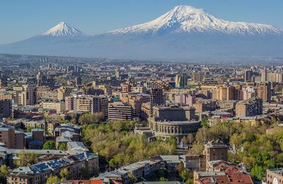 Created by the volcano, Yerevan, the pink city.