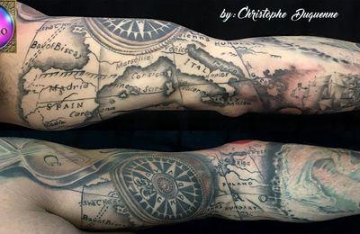 tatouage carte compas