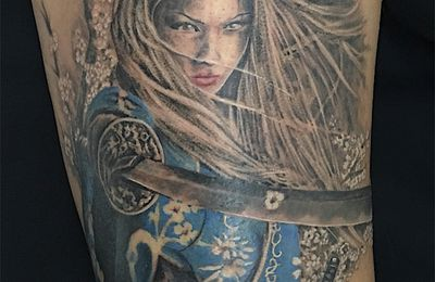 Samourai girl tattoo
