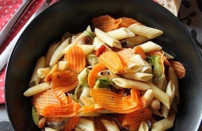 Penne aux légumes poêlés
