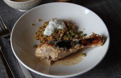 Poulet tandoori et céréales aux petits pois