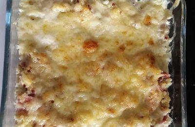 Gratin de quinoa au jambon et parmesan.