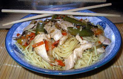 poulet mariné et wok de légumes