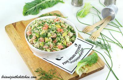 Taboulé de Chou-Fleur, Saumon, Avocat, Concombre & Herbes