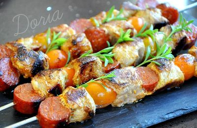 Brochettes de filet mignon, chorizo et tomates cerises jaunes