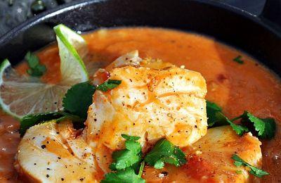 Curry de poisson, riz épicé aux graines