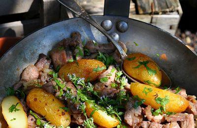 Echine de porc aux échalotes, thym et coriandre