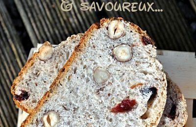 Pain aux cereale et graines, noisettes, cranberries et raisins secs