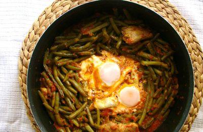 Cocotte de haricots verts aux oeufs et poulet