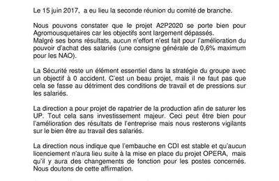 Information CGT AGROMOUSQUETAIRES du 15 juin 2017