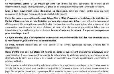 REPRESSION : Le 11 avril Soutien aux camarades rouennais, devant le Tribunal à 13h !