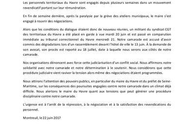 Le Havre : oui à la négociation, NON à la répression !