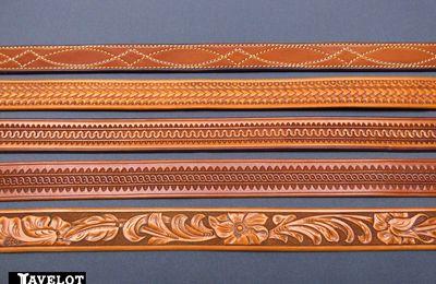 CEINTURONS WESTERN pour jeans, avec finitions Border Tooling et Scrolls ou Floral Carving.