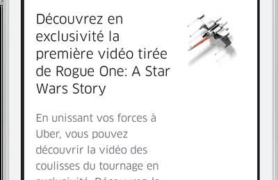 Uber et Disney unissent leurs forces pour la sortie de Rogue One : A Star Wars Story