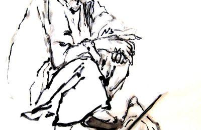 Le Repos. Vieil homme accroupi. Encre de Chine sur papier xuan.