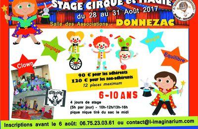 Stage cirque et magie pour les 6-10 ans cet été à DONNEZAC