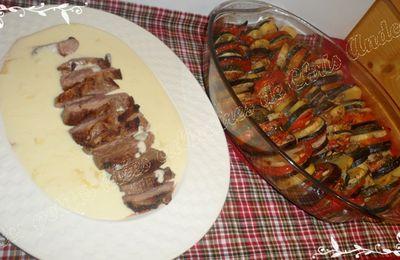 Magret de canard sauce Saint-Nectaire et Tian aux légumes et pommes de terre