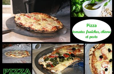 Pizza tomates fraîches, chèvre et pesto