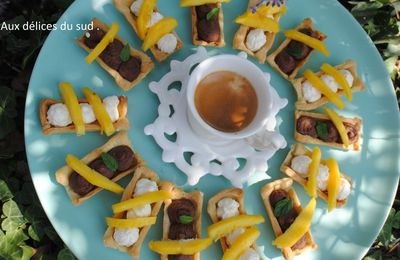 Tartelettes mangue ,choco , chantilly  pour café gourmand .