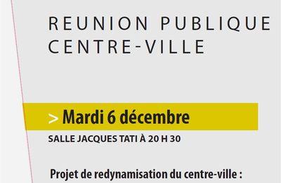 Réunion publique Centre-ville - Mardi 6 décembre 20h30 Salle Jacques Tati
