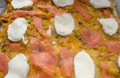 pizza potiron , oignons , saumon ,