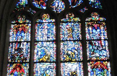 Vitrail du baptême, cathédrale de Quimper
