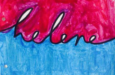 Peindre son prénom en deux couleurs (avec les grands enfants de maternelle), pour illustrer un cahier