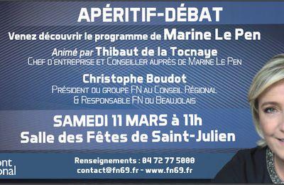 Apéritif-débat samedi 11 mars à Saint-Julien (Beaujolais) avec Thibaut de la Tocnaye et Christophe Boudot