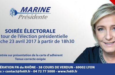 Soirée électorale du FN69 le dimanche 23 avril 2017