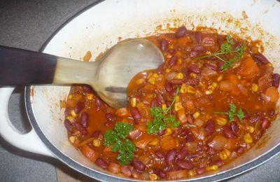 Un bon chili végétarien ( sans gluten, sans produits laitiers)