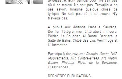 Yannick Torlini publié dans Revu, la revue de poésie...